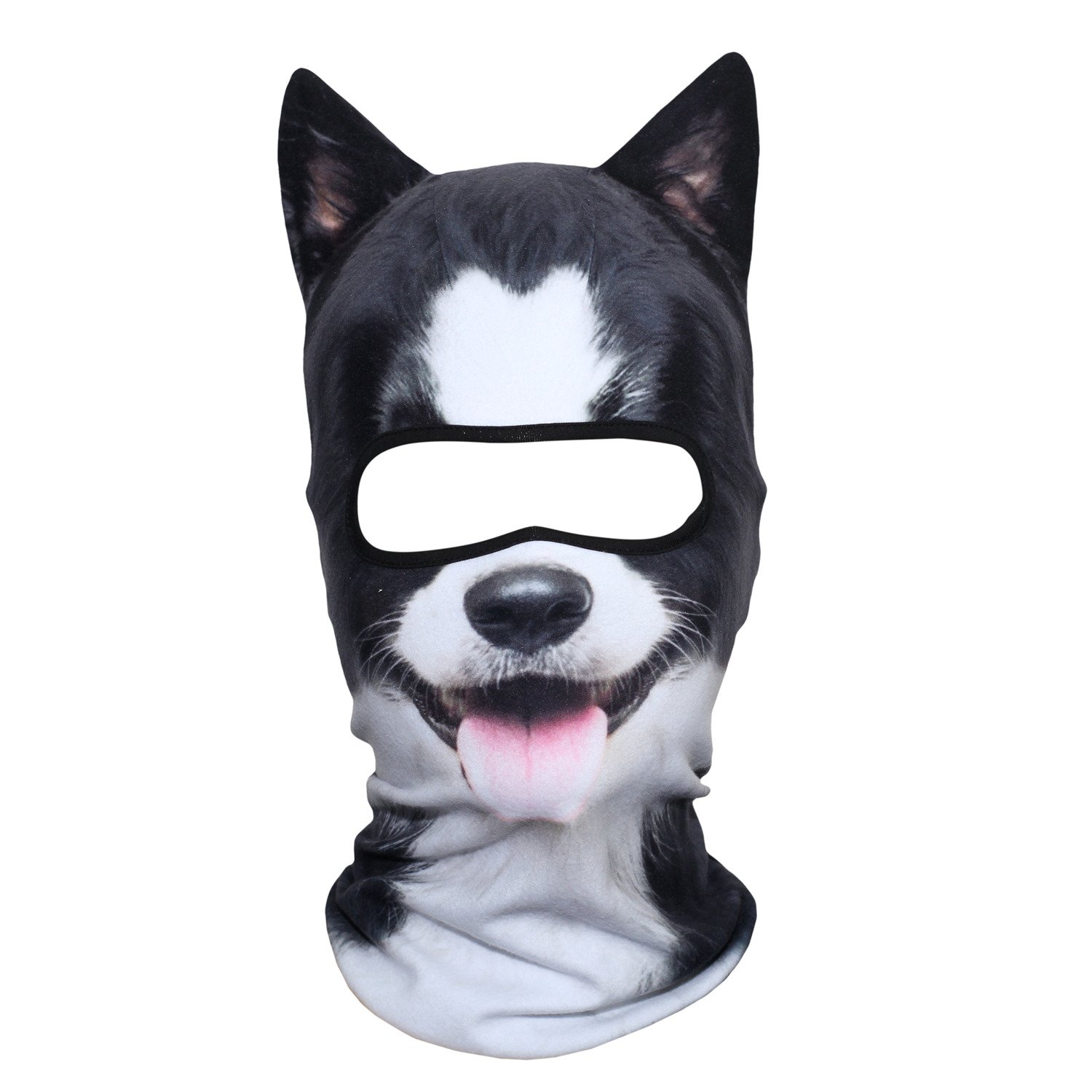 JIUSY 3D Animal Ears Fleece Thermal Hood Balaclava Neck Warmer Face Mask for Cold Weather Winter Outdoor Sport Motorcycle Cycling Riding Hunting Ski Snowboard Halloween Party Border Collie MDD-23
