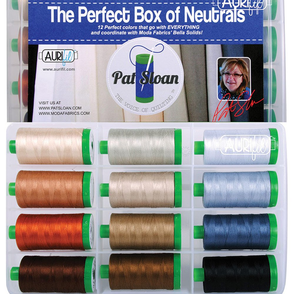 Pat Sloan The Perfect Box of Neutrals Aurifil Thread Kit 12 Large Spools 40 Weight PSNB4012 by Aurifil