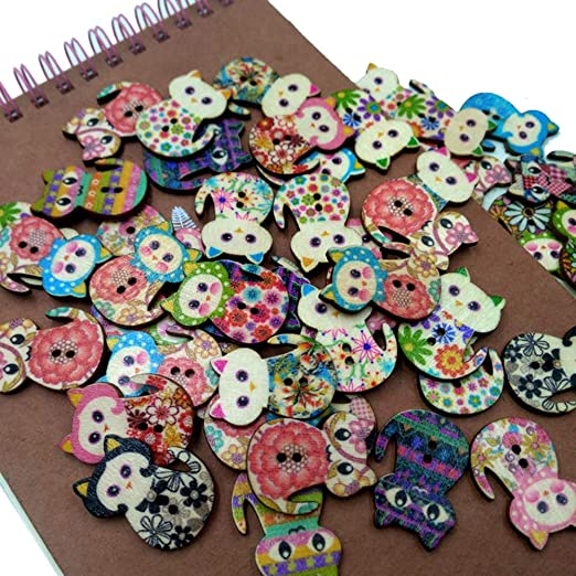 50pcs Mixed Colors Various Shape Fabric Covered Buttons for DIY Sewing Craft