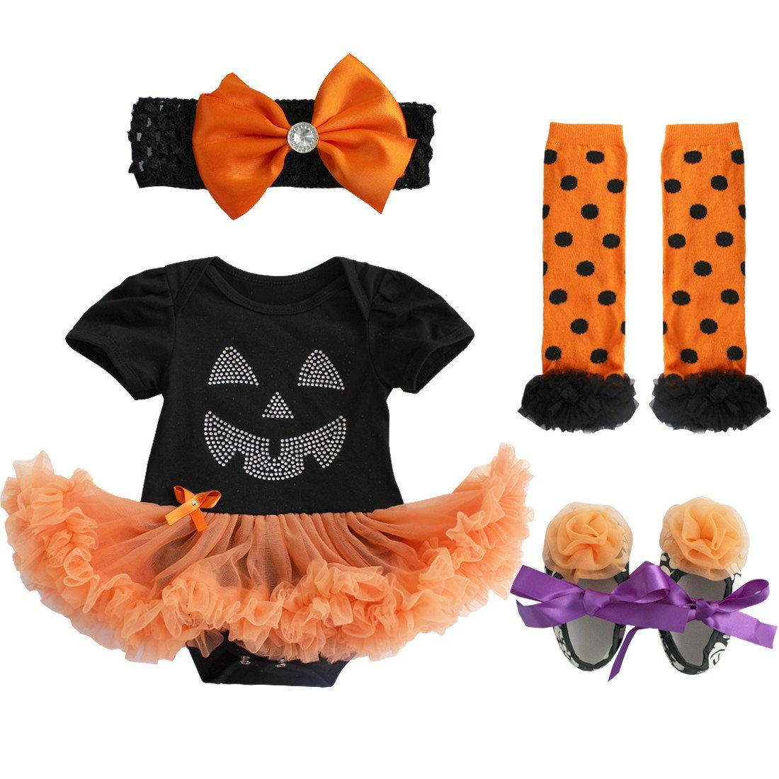 iiniim Baby Girl's Halloween Pumpkin Tutu Romper Outfits Headband Leg Warmer Shoes