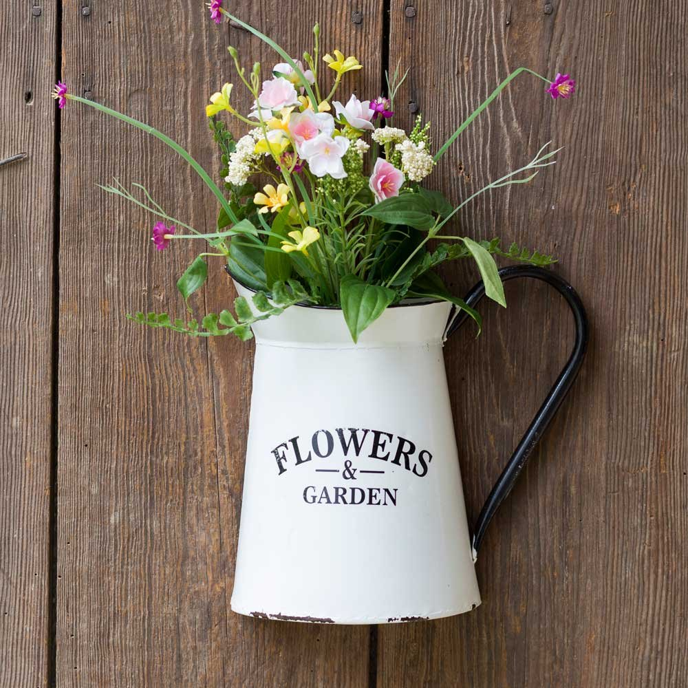 Pitcher Wall Container Home Decor Flower Vase Vintage Rustic Farmhouse Style