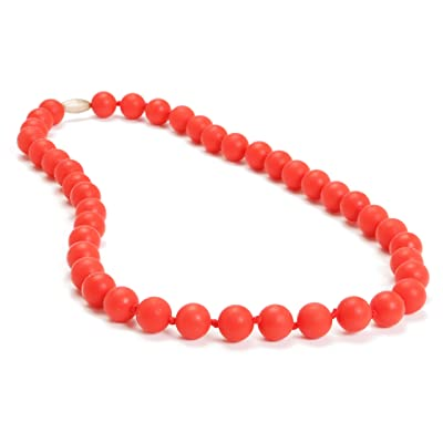 Chewbeads Jane Teething Necklace (Cherry Red) - Original Fashionable Infant Teething Jewelry for Mom. 100% Medical Grade Silicone Safe for Teething Babies and Toddlers. BPA Free : Baby Teether Toys : Baby