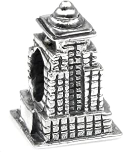Queenberry Sterling Silver America Empire State Building Europea Style Bead Charm