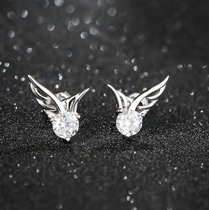 Winters Secret Pure white Angel Wings AAA Zircon Accented Shining Romantic Stud Earring