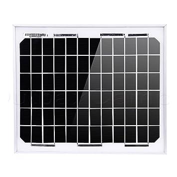 NUZAMAS 10W 12V Panel Solar Cargador De Batería De Marco De Aluminio Hogar De Grid Caravana Barco De Barco Cobertizo De Autocaravana Camping Pesca Caza ...