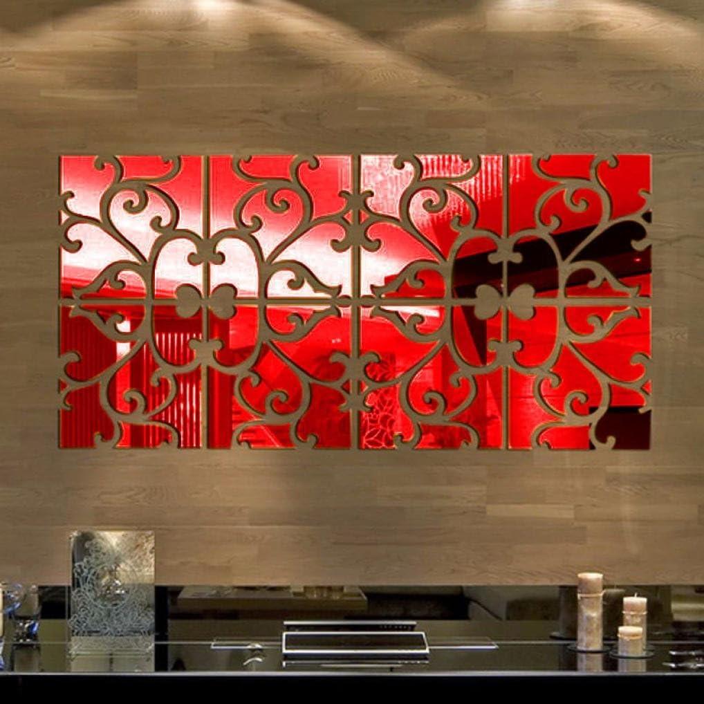 Iusun Fashion Removable 3D Acrylic Mirror Wall Sticker Home Decor (Red)