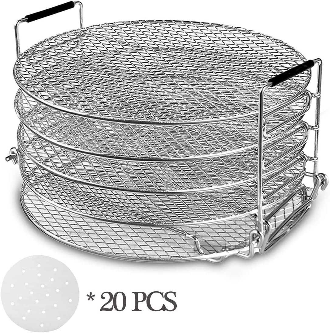 Dehydrator Racks for Oven, Dehydrator Stand Rack, Five Stackable Layer with Feet 304 Food Grade Stainless Steel Dehydrator Stand, Air Fryer & Pressure Cooker Grill Rack (6.5&8 Qt)