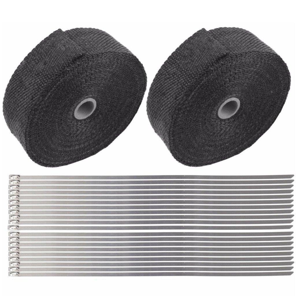 2 Roll X 2'' 50Ft Black Fiberglass Exhaust Header Pipe Heat Wrap Tape+20 Ties Kit