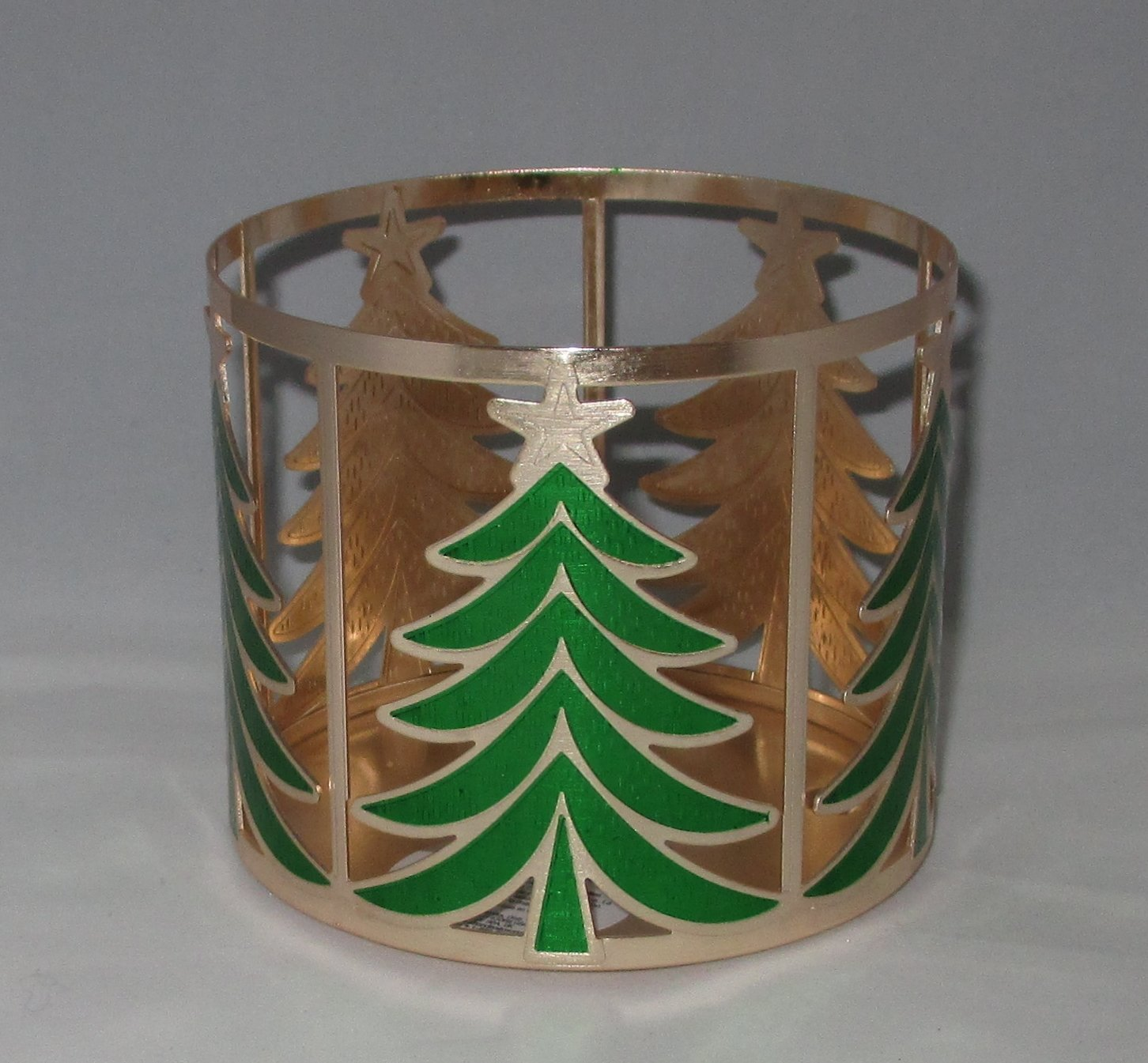 Bath & Body Works Gold Christmas Trees 3 Wick Candle Sleeve Holder