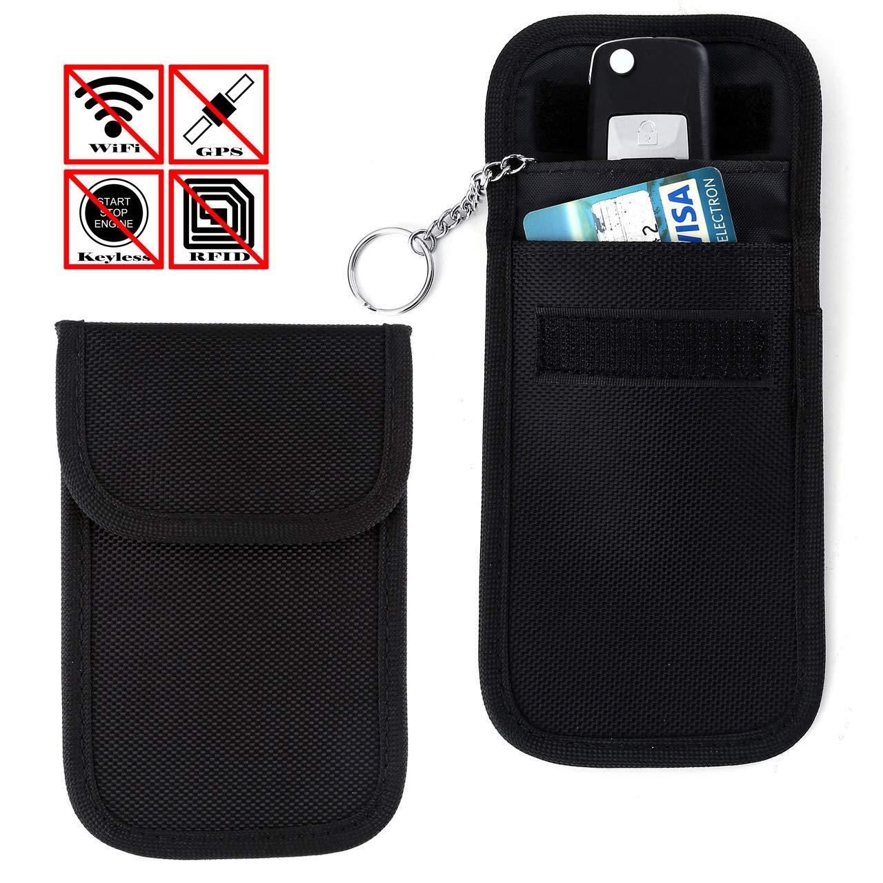 ACBungji Faraday - Custodia protettiva per chiavi auto Keyless Go, custodia NFC per carte di credito RFID Smartcard (14 x 9 cm, panno in Oxford verticale, nero), 2 pezzi