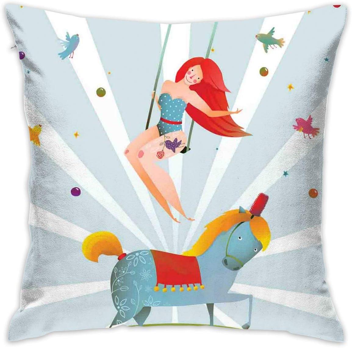 Fanqig Home Decor Throw Pillow Cojín, Circo, Carnaval, espectáculo, niña, con, Poni, Caballo, actuación, pájaros, acrobático, Caricatura, Decorativo, Cuadrado, Almohada, Funda, 18 x 18 Pulgadas