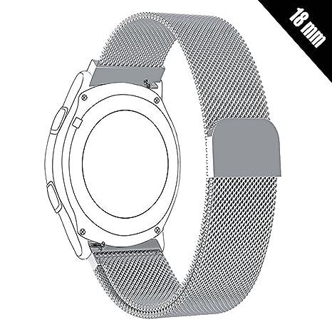 Shellong Bracelet de montre intelligente mixte en acier inoxydable avec boucle milanaise 18 mm pour montre