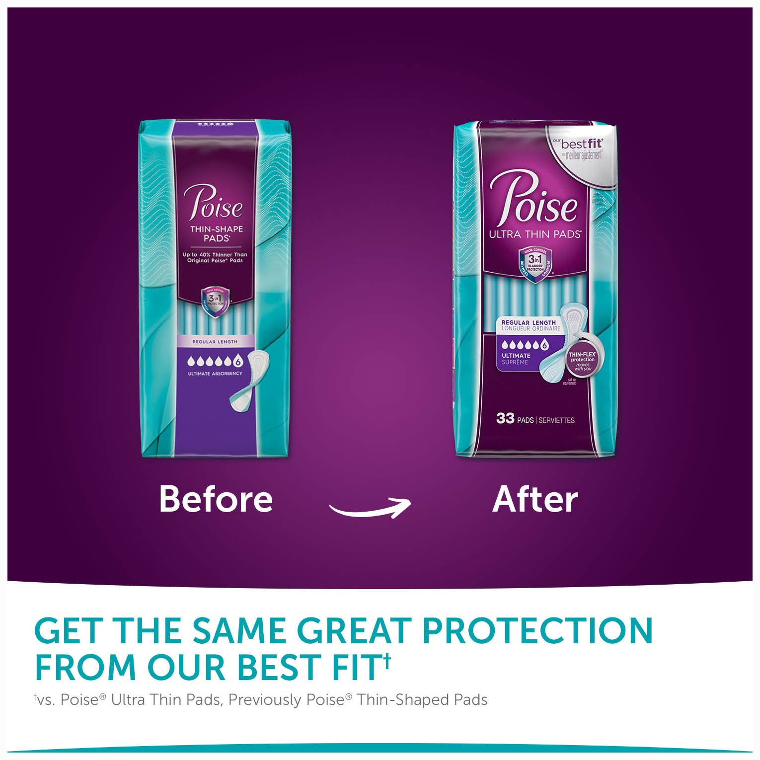 Poise Ultra Thin Incontinence Pads, Ultimate Absorbency, Unscented, Regular, 33 Count by Poise (Image #8)