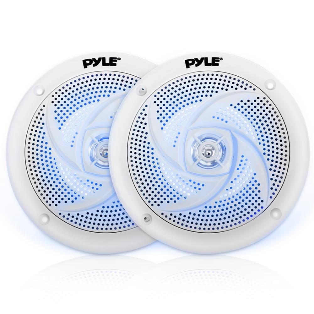 Pyle Marine Speakers - 5.25 Inch 2 Way Waterproof and Weather Resistant Outdoor Audio Stereo Sound System with LED Lights, 180 Watt Power and Low Profile Slim Style - 1 Pair - PLMRS53WL