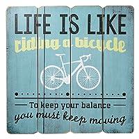 Placa Decorativa de Madeira Life is Like Riding a Bicycle