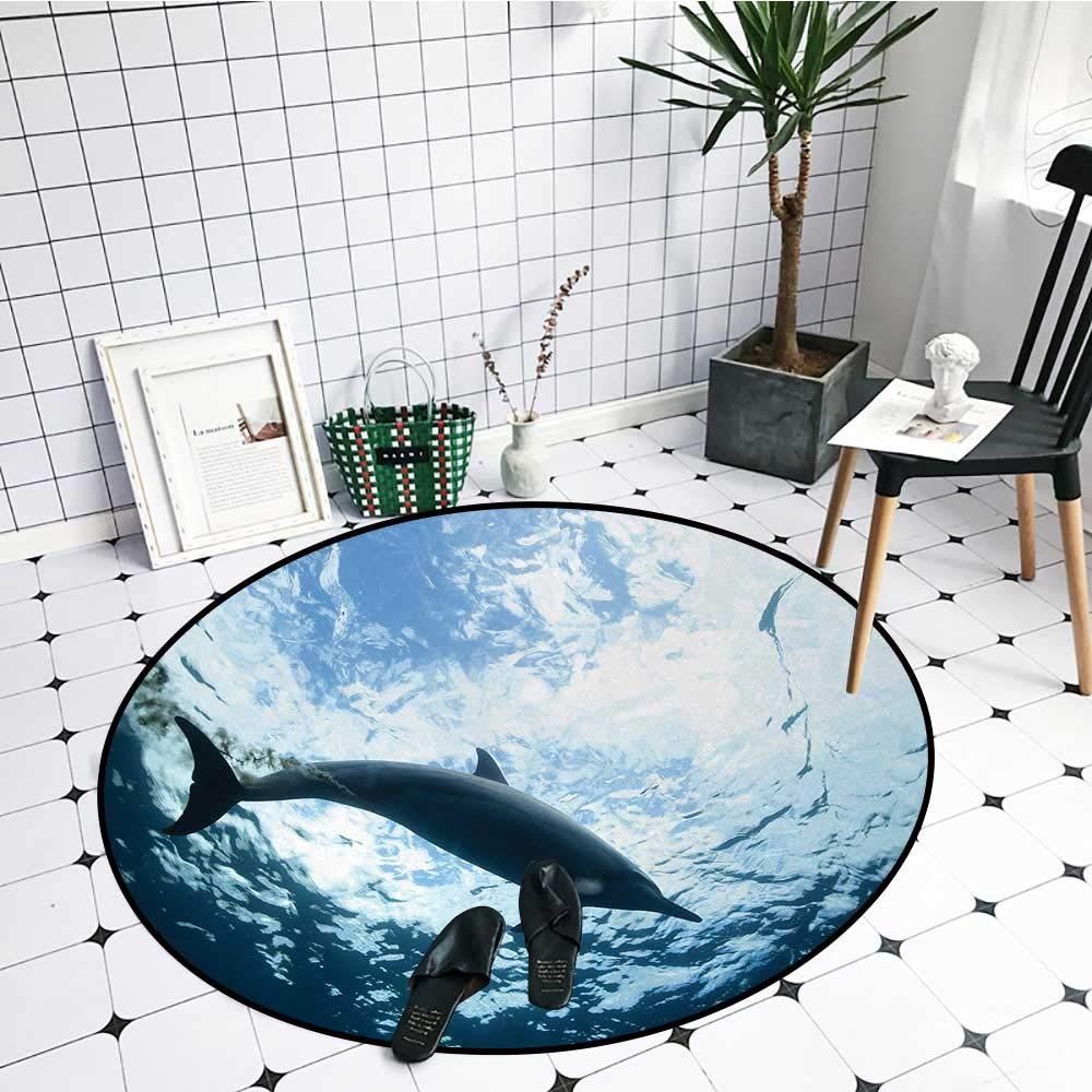 Blue Ocean Dolphins In Sea Round Area Rug Bedroom Floor Carpet Kid Play Yoga Mat