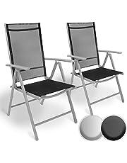Set di Alluminio Sedie da Giardino | Pieghevole, con Braccioli, Seduta Confortevole e Reclinabile | Sedia da Esterno Ideali per Balcone, Patio o Giardino (Set di 2, Grigio Chiaro)