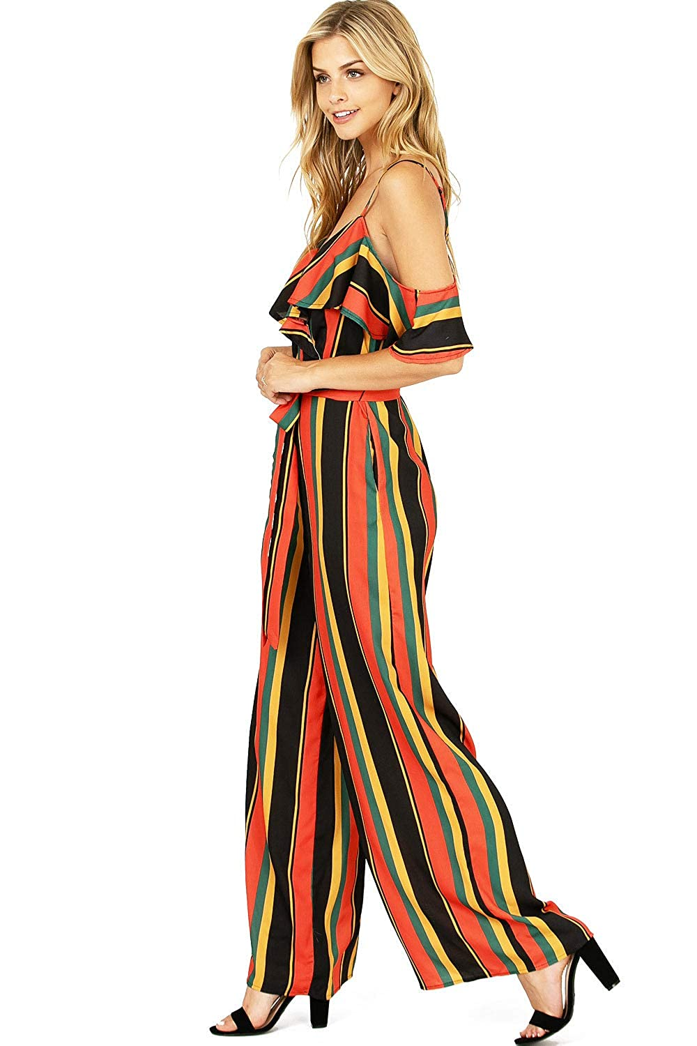 88f53857449af Amazon.com  A. Calin by Flying Tomato Women s Juniors Cold Shoulder Striped  Palazzo Jumpsuit  Clothing