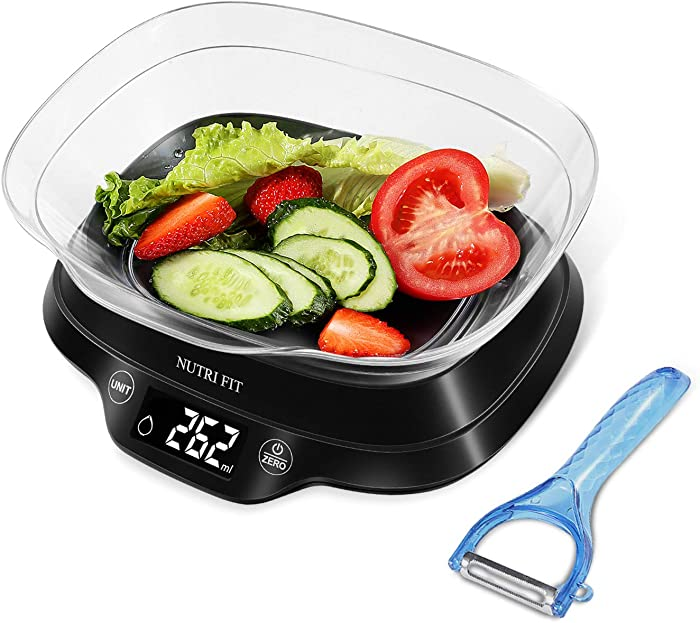 NUTRI FIT Digital Food Scale with Removable Bowl & Vegetable Peeler, 11lb 5kg, Backlight LCD Display (Batteries Included)