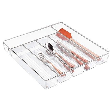 InterDesign Linus Caja para cubiertos, cubertero para cajones grande fabricado en plástico con 6 divisiones, transparente