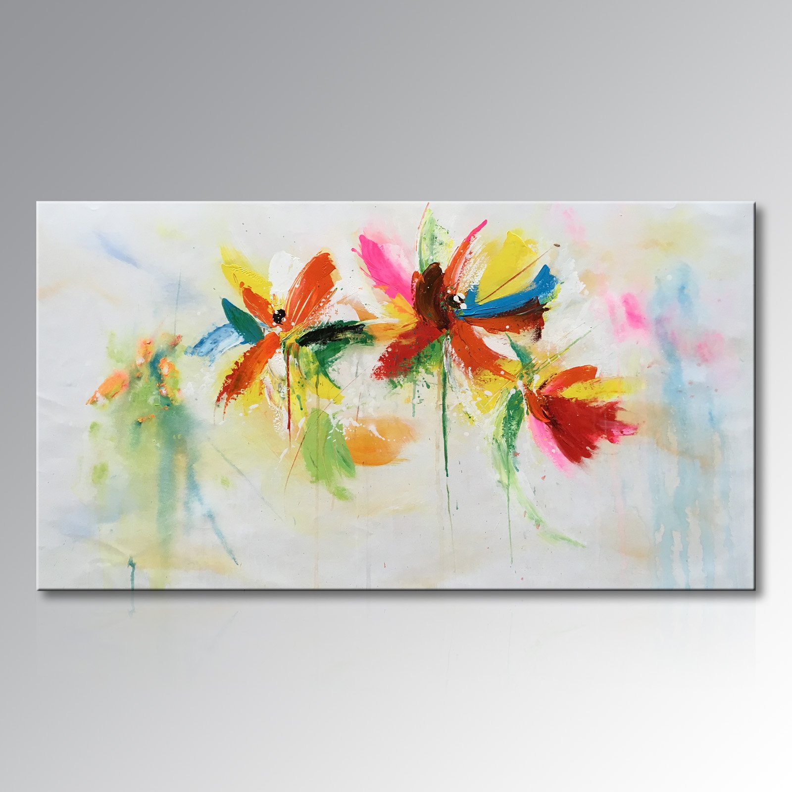Seekland Art Hand Painted Abstract Floral Canvas Wall Art Modern Flower Oil Painting Colorful Picture Decor Hanging Contemporary Artwork for Living Room Framed Ready to Hang ( 56''W x 28''H)