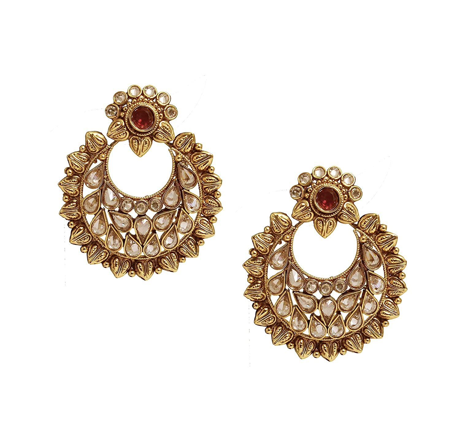 Buy Satyam Jewellery Nx Traditional Golden Earring & Tikka Set ...