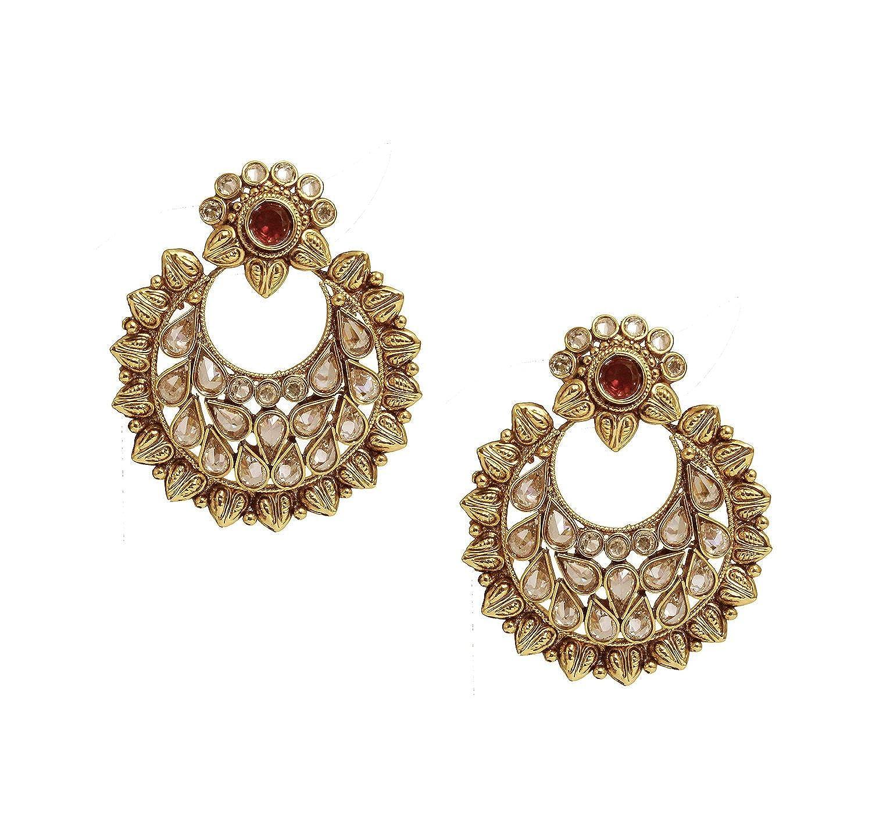 Buy Satyam Jewellery Nx Traditional Golden Earring & Tikka Set ...