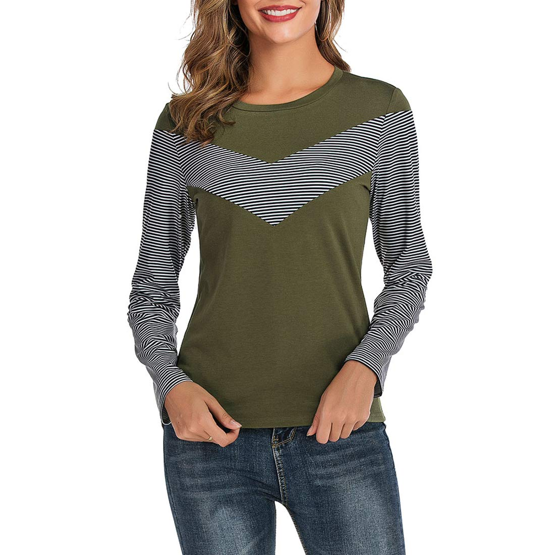 ROSESTAR Women Long Sleeve Striped Color Block Shirts Casual Lightweight Pullover Sweatshirt Tunic Tops