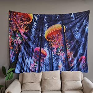 NovForth Tapestry Home Decorations for Living Room Bedroom, Home Décor Blanket Hanging, Nature Tapestry Wall Hanging Extra Large Forest Jellyfish, Wall Cloth for Living Room