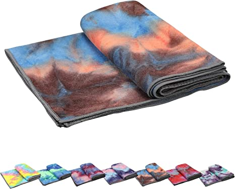 Onfoot Ultra Soft Absorbent Non Slip Hot Yoga Towels 72x24 Inch Blue