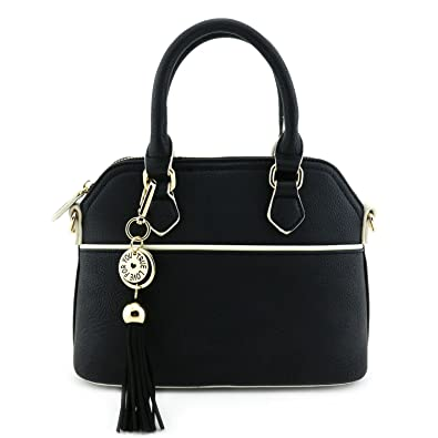 Mini Dome Satchel Crossbody Bag with Tassel Accent Black: Handbags ...