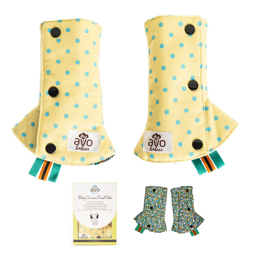 AVO Babies Beautiful Reversible Drool Suck Teething Pads Protect Carrier Straps Cover Washable Chew Pads with Toy Tags Premium Soft Cotton for Baby Carriers Car Seat Strap Pads Infants Toddlers