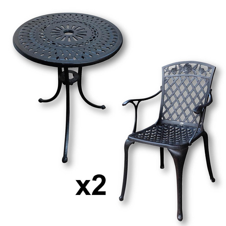 Lazy Susan - EVE 60 cm Bistrotisch mit 2 Stühlen - Rundes ...