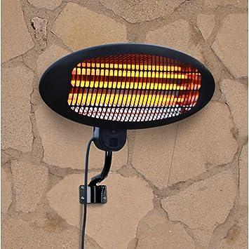 Beautiful La Hacienda Wall Mounted Black 2000w Patio Heater   Quartz