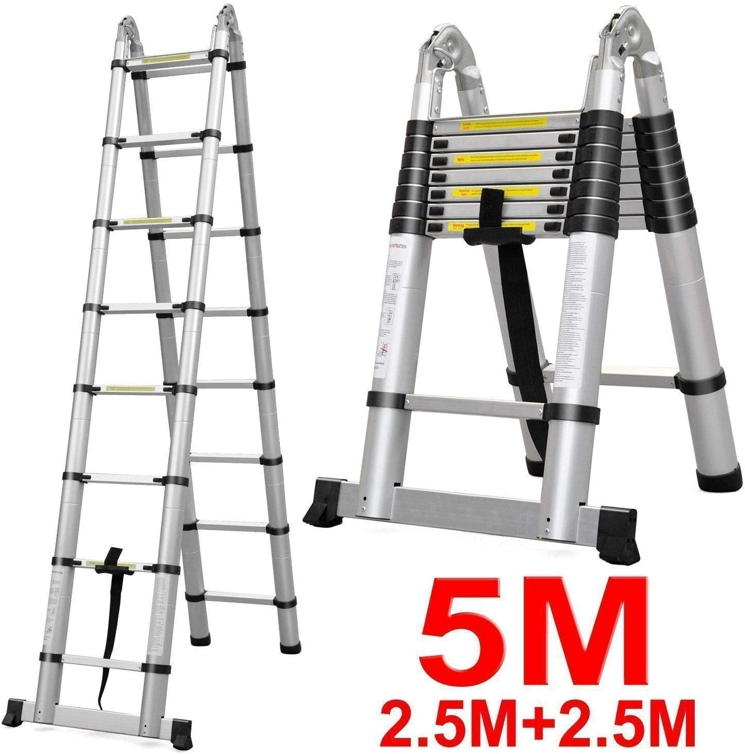 2,6M Teleskopleiter Rutschfeste Ausziehtreppen Klappleiter Mehrzweckleiter aus Aluminium Hohe Qualit/ät F/ür Heimwerkerarbeiten im Freien 150kg 330lbs max Belastung