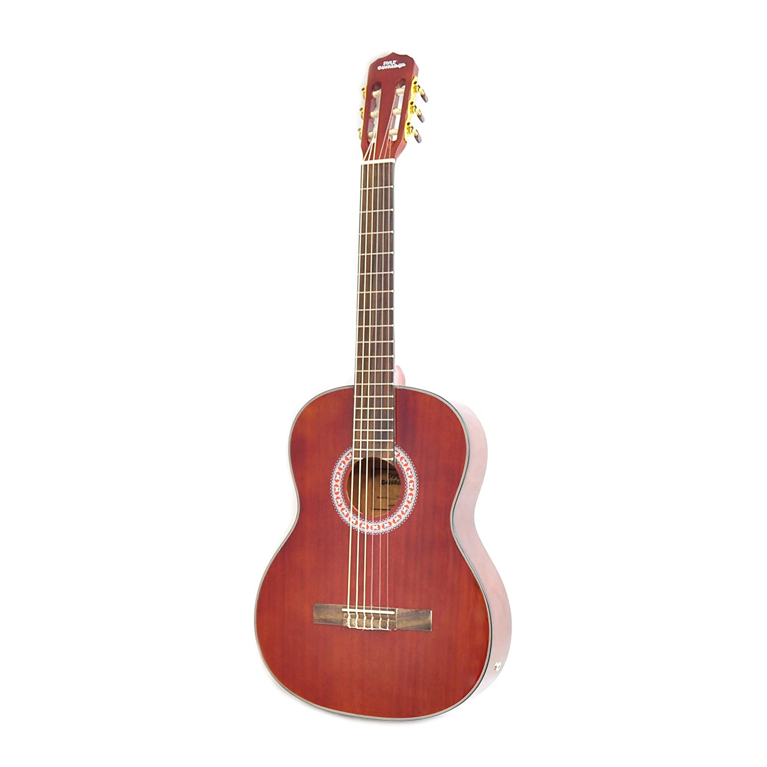 "Classical Acoustic Guitar Starter Pack - 39.5"" 6 String Mahogany High-Gloss Polished Guitar w/Built-in Preamplifier, Case Bag, 6 Nylon Strings, Tuner, Picks, Great for Beginner - Pyle PGA32RBR Sound Around"