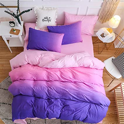 SHADEHAO Home Textile Girls Teen Bedding Set Purple Pink Solid Simple  Female Adult Linen Duvet Cover