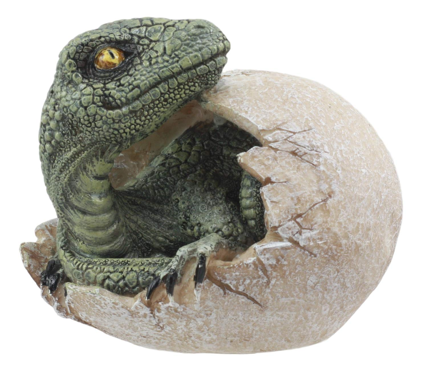 "Ebros Jurassic Era Predator Hatching Dinosaur Egg Figurine 4"" Tall Velociraptor in Egg Hatchling Statue Decor Sculpture As Fossil Themed Art in 3D Prehistoric Animal Collectible"