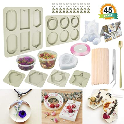 Silicone Wax Molds,LET'S RESIN 6 Type Resin Molds,Creative Plaster  Molds,with Petal and Decoration Accessories Great for Resin Pendant  Making,Scented