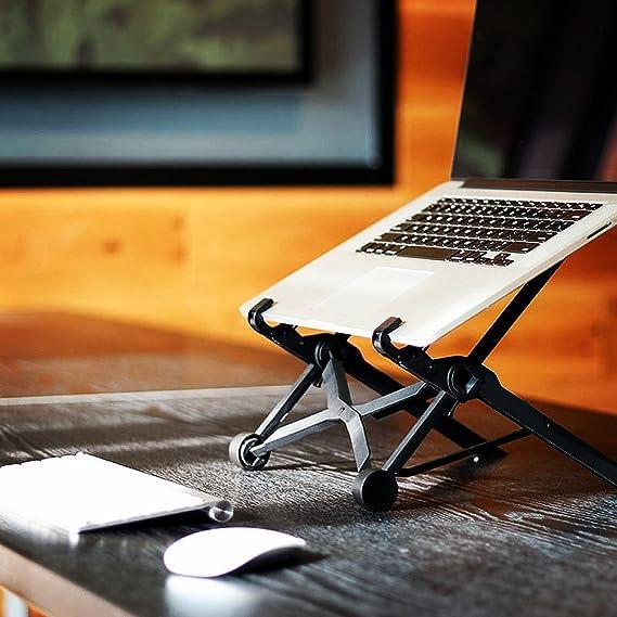 Soporte para Portátil, APzek Plegable y Ajustable Soporte para Ordenador Portátil Ergonómico Compacto Soporte Notebook Ventilado Ligero Laptop Stand para ...