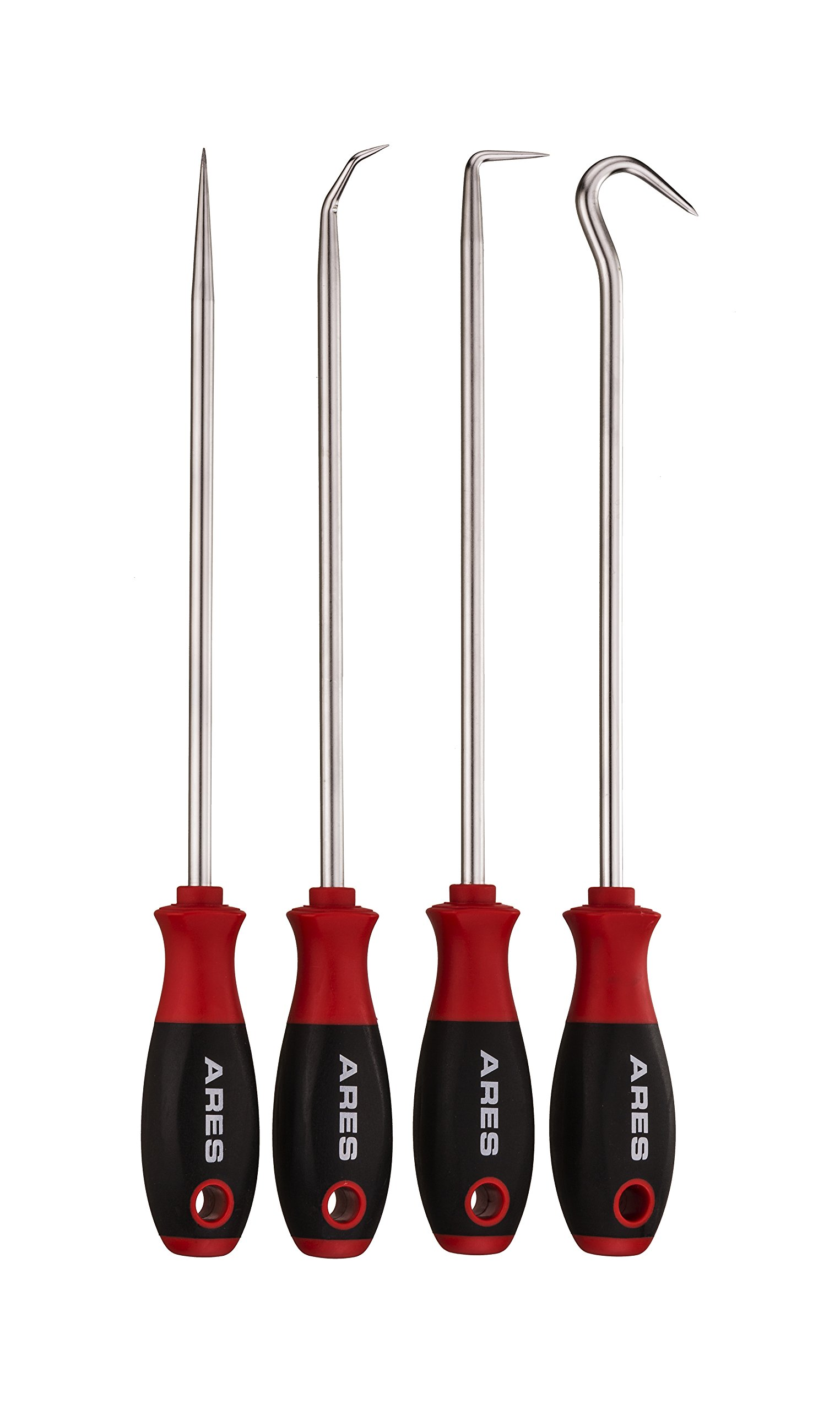 ARES 70246 | 4-Piece Hook and Pick Set | Includes a Large Straight Pick, 90 Degree Pick, Combination Pick and a Hook Pick | Chrome Vanadium Steel Shafts | Easily Remove Hoses, Gaskets and More