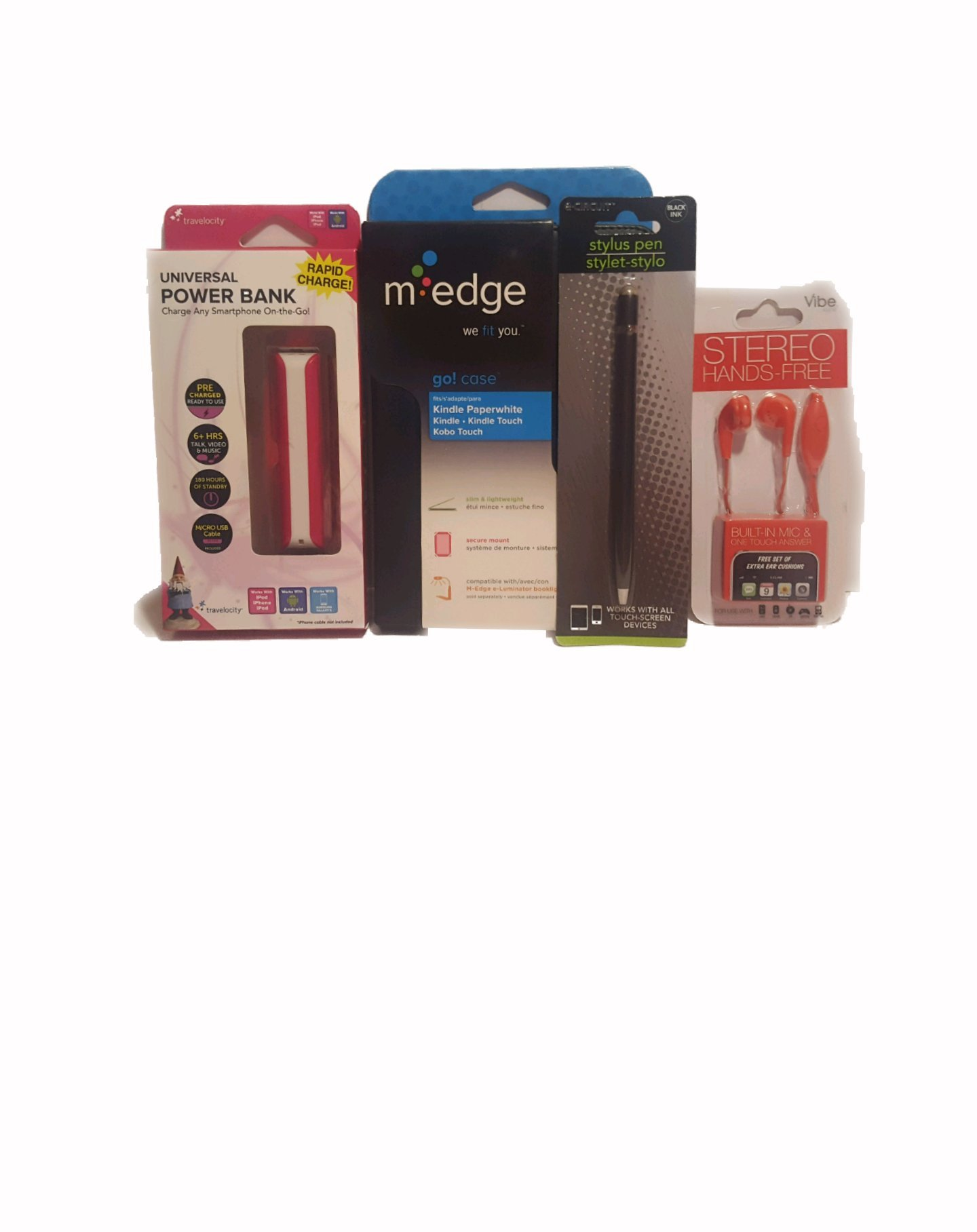 M Edge Kindle Case 4 Piece Bundle Set Stylus Pen, Power Bank Charger, Hands-Free Earphone with Built-in Mic by M Edge Accessories (Image #1)