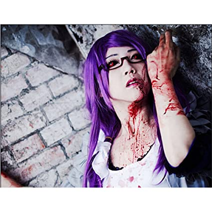 LanTing Cosplay Peluca Tokyo Ghoul Kamishiro Rize LONG purple Cosplay Party Fashion Anime Human Costume Full