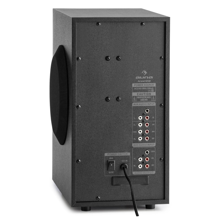 auna Areal 653 /• Home Cinema 5.1 /• Sistema sonido surround /• Concept 620 envolvente /• Rendimiento 145W RMS /• Subwoofer sidefiring /• Altavoces sat/élite /• Bassreflex /• Bluetooth /• USB /• SD /• AUX /&