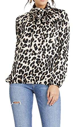 28dd970bde149 Womens Ladies Tie Neck Pussy Bow Blouse Shirt Long Sleeve Top Anirmal Snake  Leopard Print Cuffed Loose (8-14 UK (One Size)
