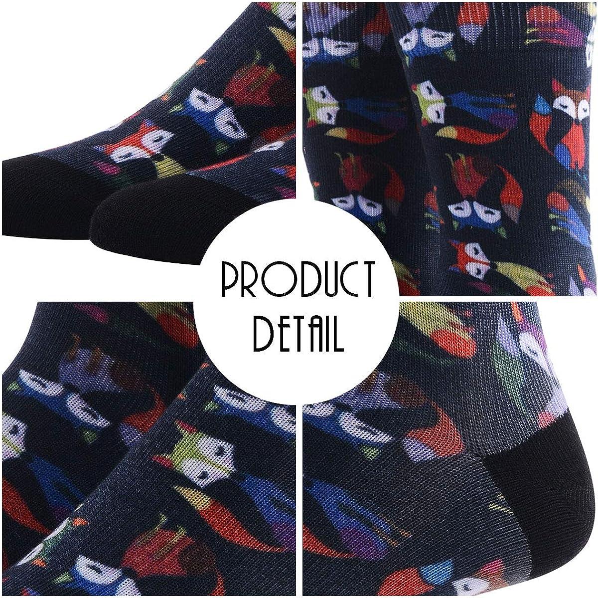 4 5 Mens Novelty Socks 6 Pairs MEIKAN Digital Printing Funky Patterned Crew Socks 3