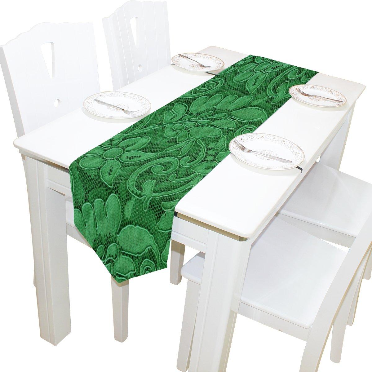 Alazaテーブルランナーウェディングパーティー宴会装飾用ホーム装飾、スタイリッシュな花柄エメラルドグリーンランナーコーヒーテーブルクロスマット13 x 70インチ 13x70 ホワイト 13x70  B07792SL24