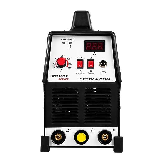 Stamos Power - S-TIG 220 - Equipo de soldadura TIG - Corriente de soldadura de 220 Amperios - Función adicional de soldadura MMA - 60% Ciclo de trabajo - HF ...