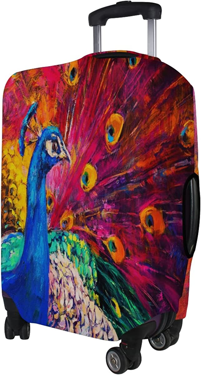 ALAZA Painting Peacock Feather Travel Luggage Cover Suitcase Cover Case