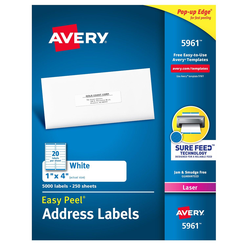 Easy Peel Laser Address Labels, 1 x 4, White, 5000/Box (並行輸入品) B00007M5D5